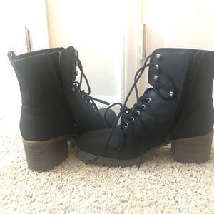 two tone lace up boots